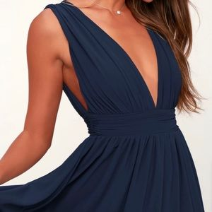 Navy blue formal maxi dress